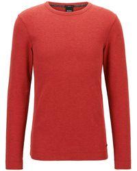 BOSS by HUGO BOSS Slim-fit T-shirt Met Lange Mouwen, Van Katoen Met Wafelstructuur - Rood