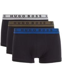 BOSS Three-pack Of Trunks With Coloured Logo Waistbands - Gray
