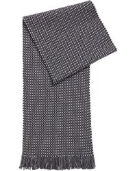 BOSS - Fringed Scarf In Virgin Wool With Multicolored Micro Pattern - Lyst