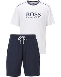 BOSS by HUGO BOSS Contrast-piped Pyjama Set With Logo Statements - Blue