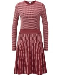 BOSS Long-sleeved Dress In Two-tone Knitted Jacquard - Red