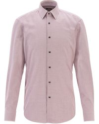 BOSS Slim-fit Shirt In Micro-patterned Cotton Twill - Red