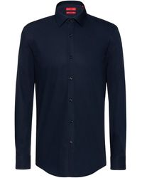 HUGO Slim-fit Business Shirt In Cotton Poplin - Blue