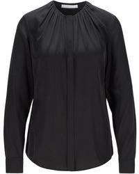 BOSS by HUGO BOSS Blusa en mezcla de seda con escote fruncido - Negro