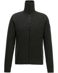 BOSS by Hugo Boss - Zip Through Knitted Jacket In Ribbed Virgin Wool - Lyst