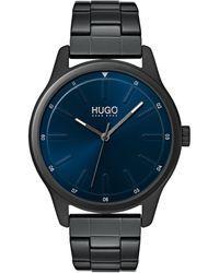 HUGO Orologio con bracciale a maglie e quadrante blu - Nero