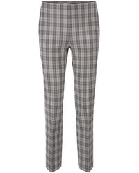BOSS Regular-fit Trousers In A Cotton-blend Check - Grey