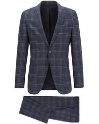 BOSS by Hugo Boss Slim-fit Suit In Checked Virgin Wool - Blue