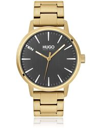 HUGO Contrast-dial Watch With Chain-link Bracelet - Metallic