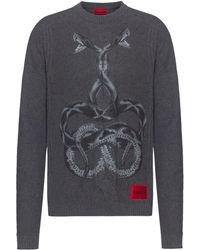 HUGO Gebreide Trui Met Slangenprint En Logolabel - Grijs