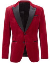 BOSS by HUGO BOSS Slim-fit Tuxedo Jacket In Velvet With Silk Trims - Red