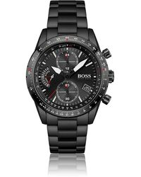 BOSS by HUGO BOSS Black-plated Chronograph Watch With Link Bracelet