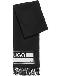 HUGO Knitted Scarf With Collection-themed Print And Fringed Edging - Black