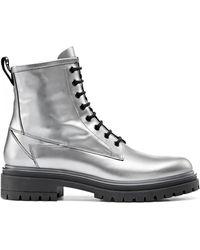 HUGO Boots crantées à lacets en cuir italien laminé - Métallisé