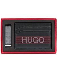 HUGO Pasjeshouder En Geldclip Met Logodetails In Een Cadeaubox - Zwart