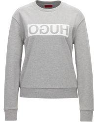 HUGO - Sweatshirt In Cotton With A Reversed Logo: 'nicci' - Lyst