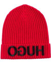 7e58a3ae075 HUGO - Unisex Beanie Hat In Wool With Reverse Logo - Lyst