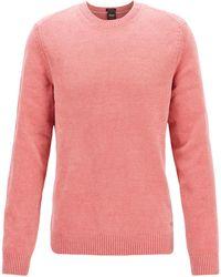 BOSS - Plain-knit Jumper In Italian Cotton Chenille - Lyst