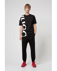 HUGO Regular-fit T-shirt Van Katoenen Jersey Met Afgesneden Logo - Zwart