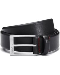 HUGO Embossed Leather Belt With Polished Silver-effect Hardware - Black