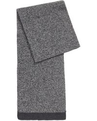 BOSS by Hugo Boss Structured-knit Scarf In Mouliné Yarns - Metallic