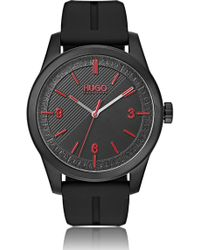 HUGO Black-plated Watch With Multi-textured Dial