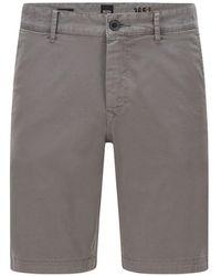 BOSS by HUGO BOSS Slim-fit Shorts Van Katoentwill Met Stretch - Grijs