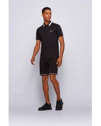 BOSS by HUGO BOSS Slim-fit Polo Shirt In Cotton With Striped Collar - Black