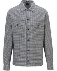 BOSS by Hugo Boss Relaxed-fit Overshirt In Vichy-print Cotton Twill - Black