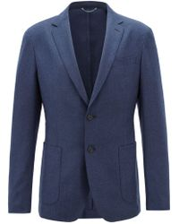 BOSS - Slim-fit Blazer In Washable Virgin-wool Flannel - Lyst
