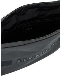 BOSS by HUGO BOSS Umhängetasche aus strukturiertem Nylon mit Logo-Print aus Silikon - Grau