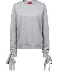 HUGO - Relaxed-fit Jersey Sweatshirt With Cuff-tie Detail - Lyst
