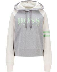 BOSS by HUGO BOSS Oversized-fit Logosweater Met Capuchon Van Biologische Katoen - Grijs