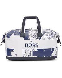 BOSS by HUGO BOSS Amplio bolso weekender de nylon con estructura y diseño gráfico inspirado en Tokio - Blanco