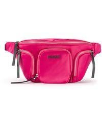 HUGO Logo Belt Bag In Lustrous Nylon - Pink