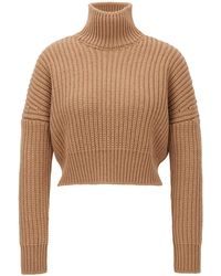 BOSS Cropped Structured-knit Sweater In Wool With High Neckline - Brown