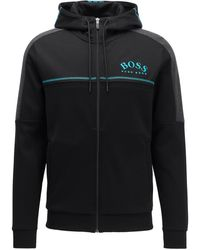 BOSS by Hugo Boss Regular-fit Sweatshirt With Curved Logo And Adjustable Hood - Black