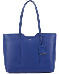 BOSS Shopper Bag In Grained Italian Leather - Blue