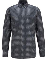 BOSS by HUGO BOSS Gemustertes Slim-Fit Hemd aus Stretch-Popeline - Blau