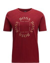 BOSS Cotton-jersey T-shirt With New-season Logo - Red