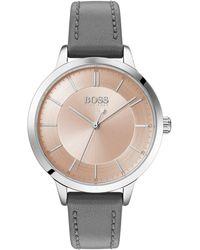 BOSS by HUGO BOSS Montre à bracelet en cuir avec cadran à deux niveaux - Gris