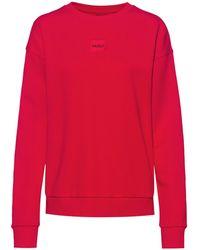 HUGO Regular-fit Sweater Van Katoen Met Rood Logolabel - Roze