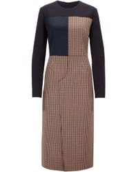 BOSS - Made In Germany Patchwork Dress In Mixed Fabrics - Lyst