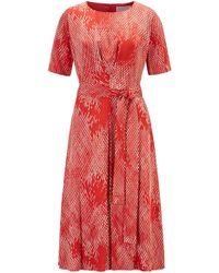 BOSS Lightweight Midi-length Dress With Exclusive Snake Print - Red