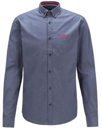 BOSS by HUGO BOSS Regular-fit Overhemd Met Buttondownkraag In Popeline Van Stretchkatoen - Blauw