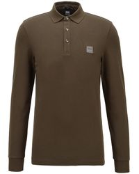 BOSS by Hugo Boss Slim-fit Polo Shirt In Stretch-cotton Piqué - Natural