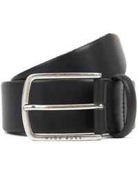 BOSS Pin-buckle Belt In Cuoio Leather With Brushed Hardware - Black