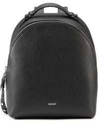 BOSS by Hugo Boss Grainy Leather Backpack With Studded Zip Puller - Black