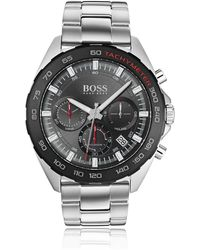 BOSS Chronograph Watch With Integrated Tachymeter And Link Strap - Metallic