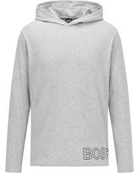 BOSS by HUGO BOSS Pyjama-t-shirt Van Stretchkatoen Met Contourlogo - Grijs